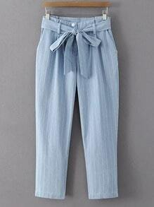 Blue Stripe Zipper Pockets Cropped Pants With Belt