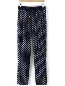 Navy Drawstring Waist Printed Pocket Pants