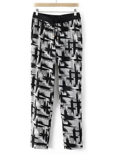 Black And White Drawstring Waist Printed Pocket Pants