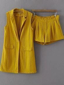 Yellow Lapel Blazer With Zipper Shorts