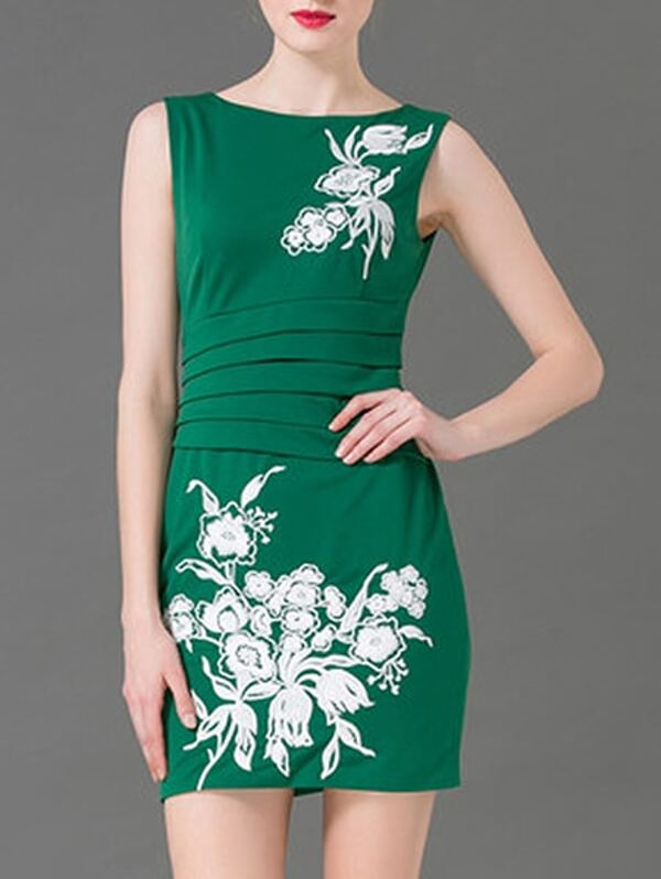 Green Crew Neck Embroidered Ruched Sheath Dress, null