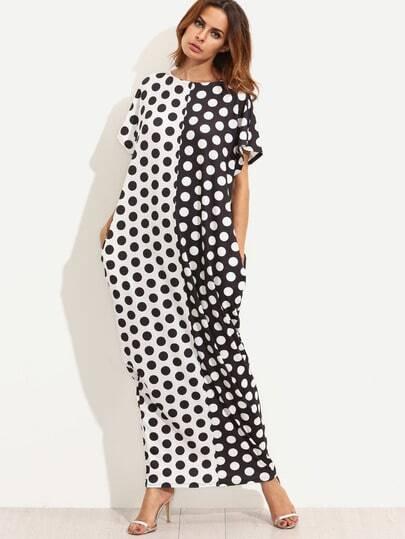 Contrast Polka Dot Print Pockets Maxi Tee Dress