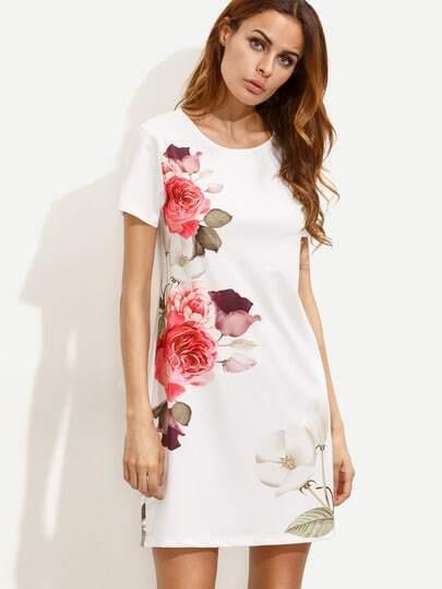 Белое платье с цветочным принтом с короткими рукавами