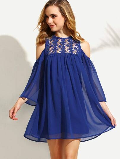 Royal Blue Cold Shoulder Crochet Chiffon Shift Dress