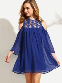 Royal Blue Cold Shoulder Crochet Chiffon Shift Dress