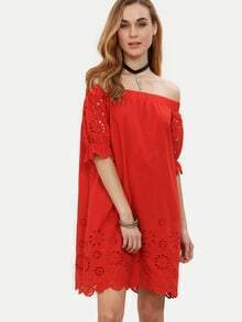 Red Off The Shoulder Half Sleeve Hollow Dress