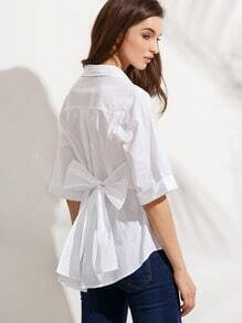 White Half Sleeve Bow Tie Back Blouse