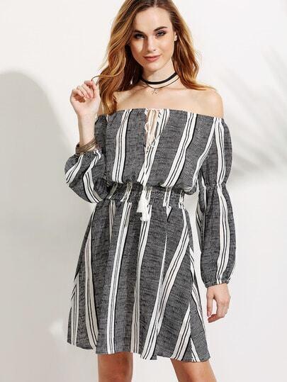 Off The Shoulder Vertical Striped Lace Up Elastic Waist Dress