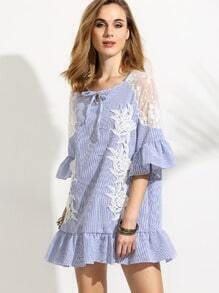 Blue Vertical Striped Mesh Shoulder Crochet Applique Ruffle Dress