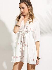 White Drawstring High Waist Embroidered Dress
