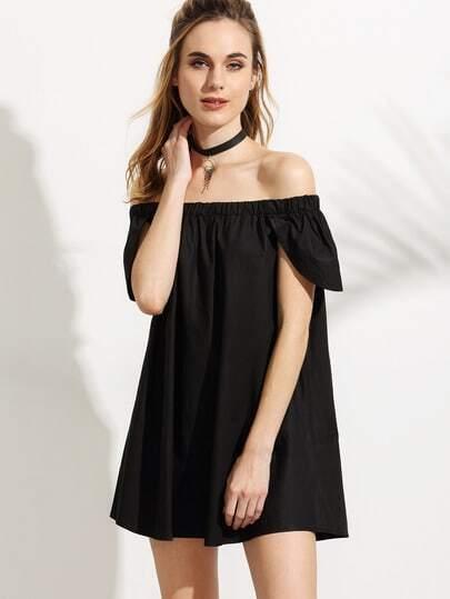 Black Off The Shoulder Cape Sleeve Dress