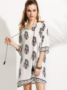 White Tribal Print Tie Neck Fringe Dress