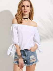 White Off The Shoulder Knotted Top