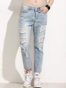 Pale Blue Ripped Boyfriend Jeans