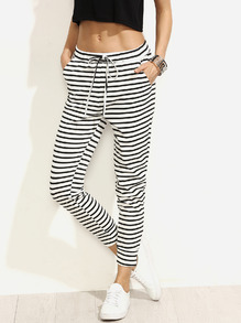 Striped Drawstring Waist Crop Pants