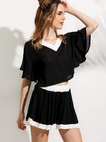 Black Ruffle Sleeve Contrast V Neck Top With Shorts