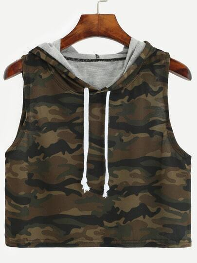 Olive Green Camo Print Crop Hooded Top