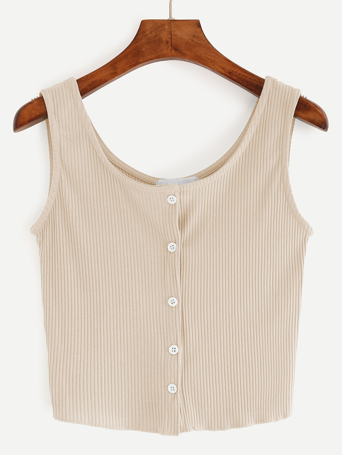 Beige Button Front Ribbed Tank Top vest160705027