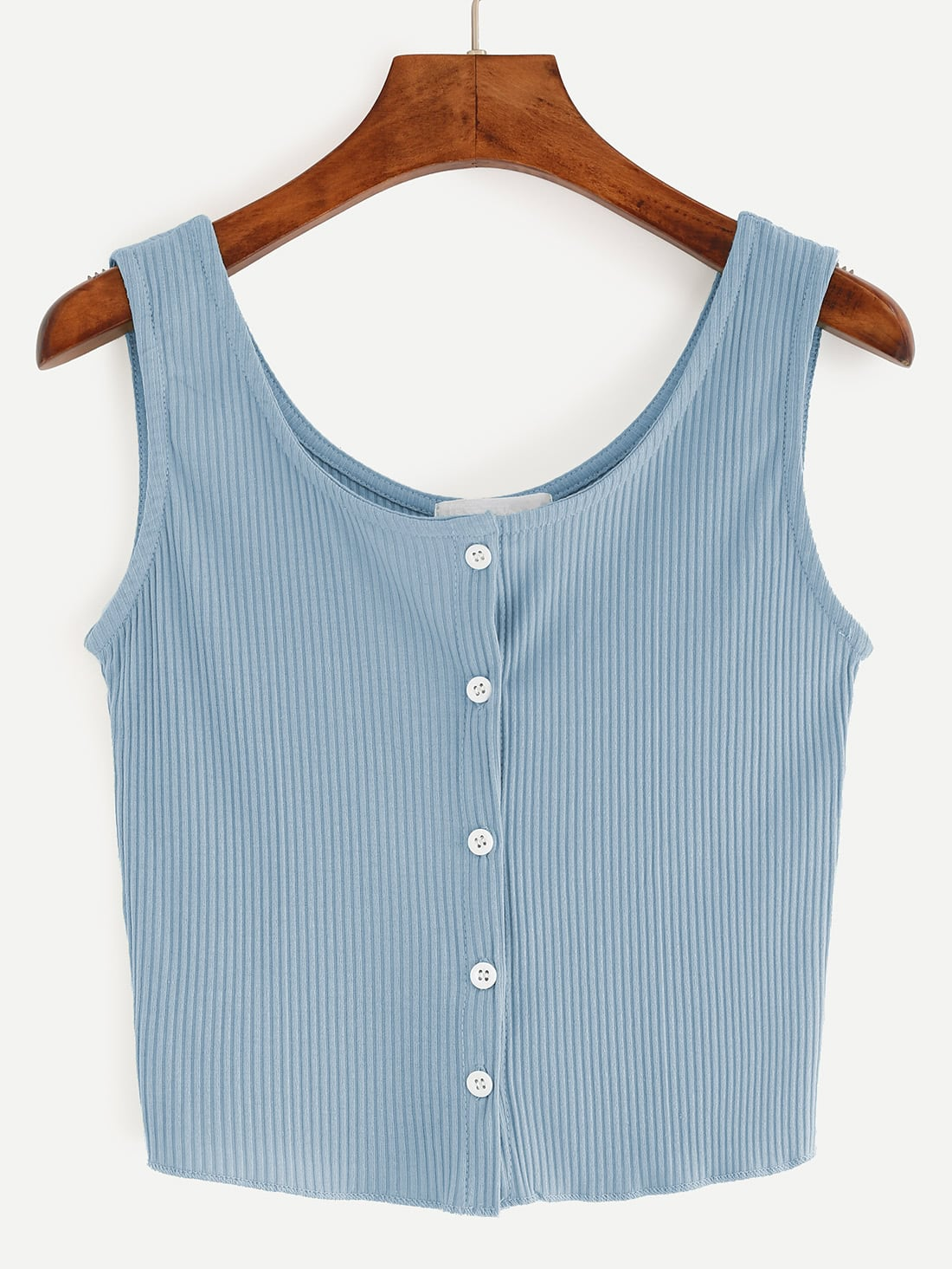 Blue Button Front Ribbed Tank Top vest160705028