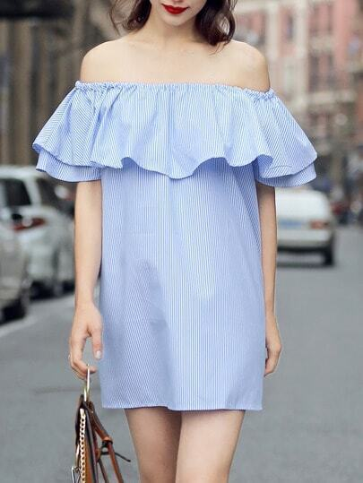 Blue Vertical Striped Ruffle Off The Shoulder Dress