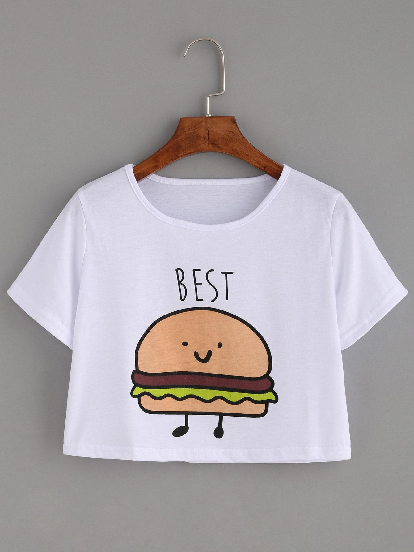 White Print Crop T-shirtWhite Print Crop T-shirt<br><br>color: White<br>size: L,XL,XXL