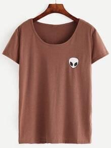 Brown Alien Print T-shirt