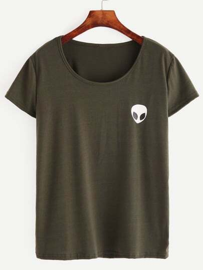 Olive Green Alien Print T-shirt