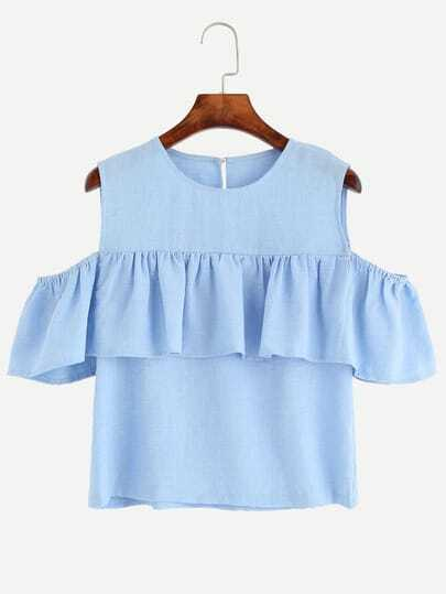 Open Shoulder Flounce Top