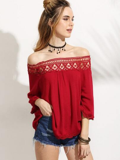 Bardot Lace Crochet Insert Trim Top