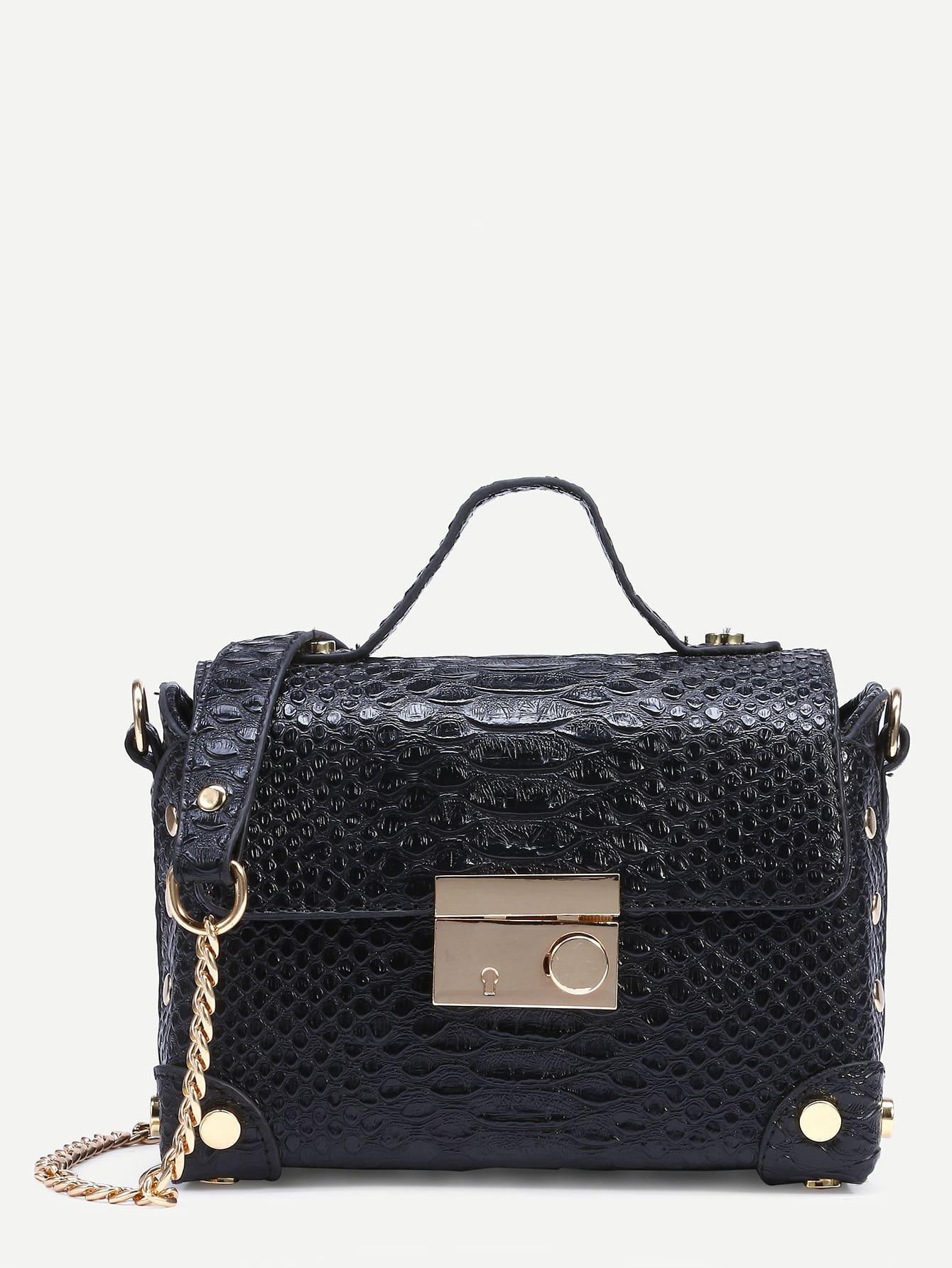 Black Crocodile Embossed Box Bag With Chain StrapBlack Crocodile Embossed Box Bag With Chain Strap<br><br>color: Black<br>size: None