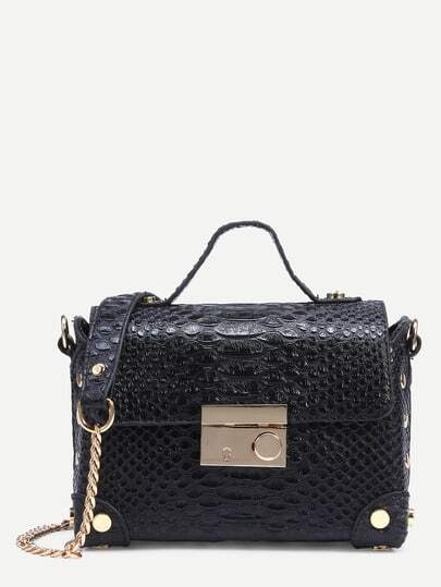 Black Crocodile Embossed Box Bag With Chain Strap