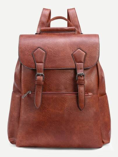 Camel Dual Buckled Strap Flap Backpack