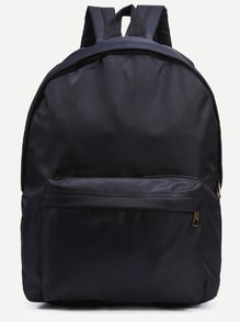 Black Zip Closure Nylon Backpack
