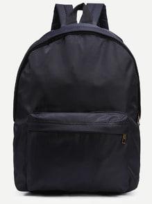 Black Zip Closure Nylon Backpack