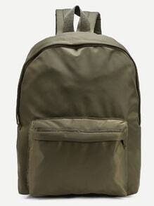 Olive Green Zip Closure Nylon Backpack