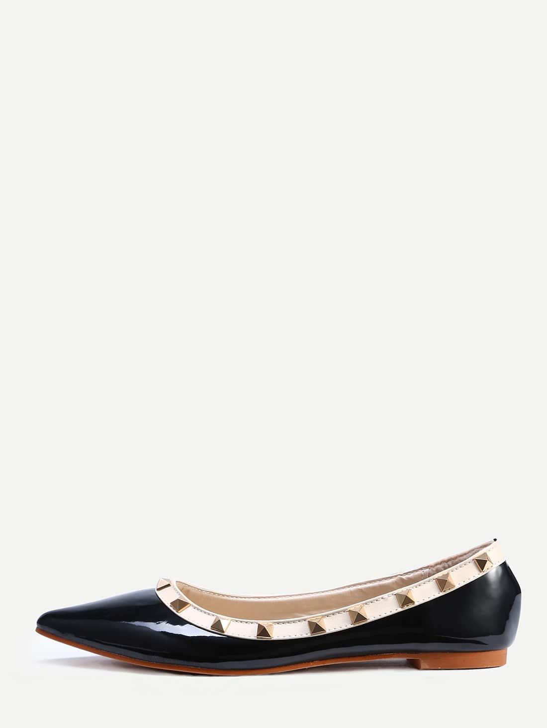 Фото Black Pointed Toe Studded Flats. Купить с доставкой