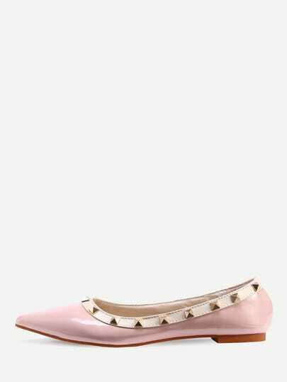 Pink Pointed Toe Studded Flats