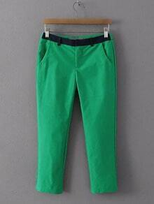 Green Zipper Fly Pocket Pants
