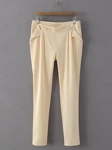 Apricot Zipper Side Harem Pants