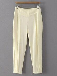 Ivory White Zipper Side Harem Pants