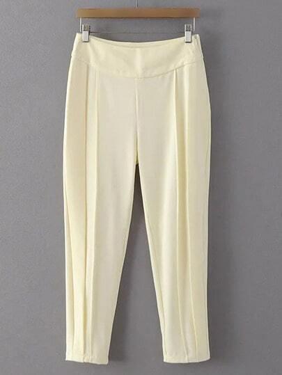 Ivory White Zipper Side Harem Pants