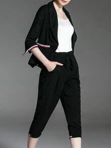 Black V Neck Top With Elastic-Waist Pants