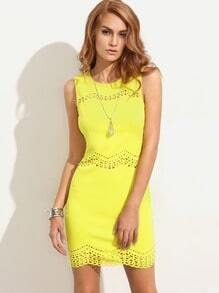 Yellow Cutout Sleeveless Sheath Dress