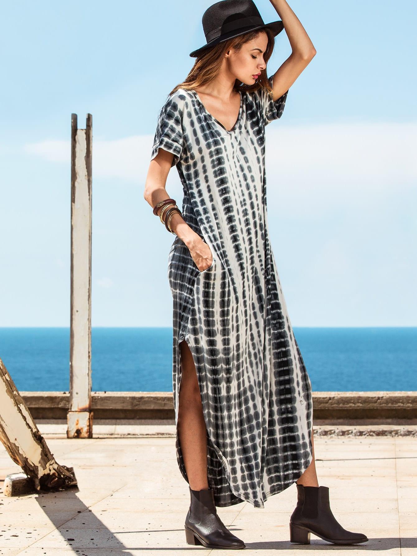 Tie-dye V Neck Short Sleeve Split Long Dress