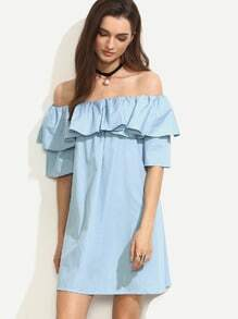 Blue Ruffle Off The Shoulder Dress