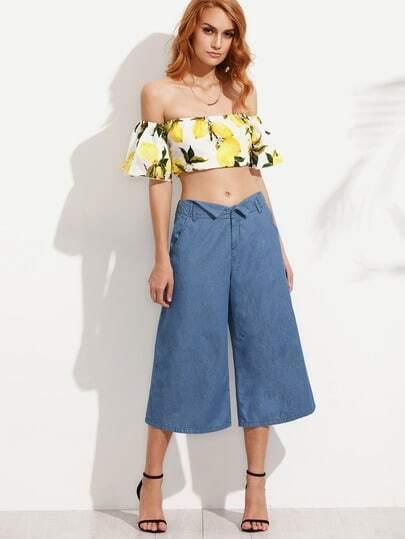 Blue Wide-Leg Capri Pants With Pockets