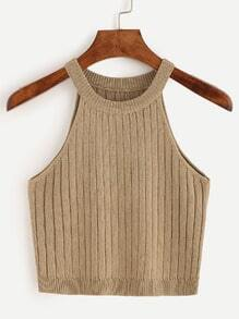 Ribbed Light Brown Knitted Top