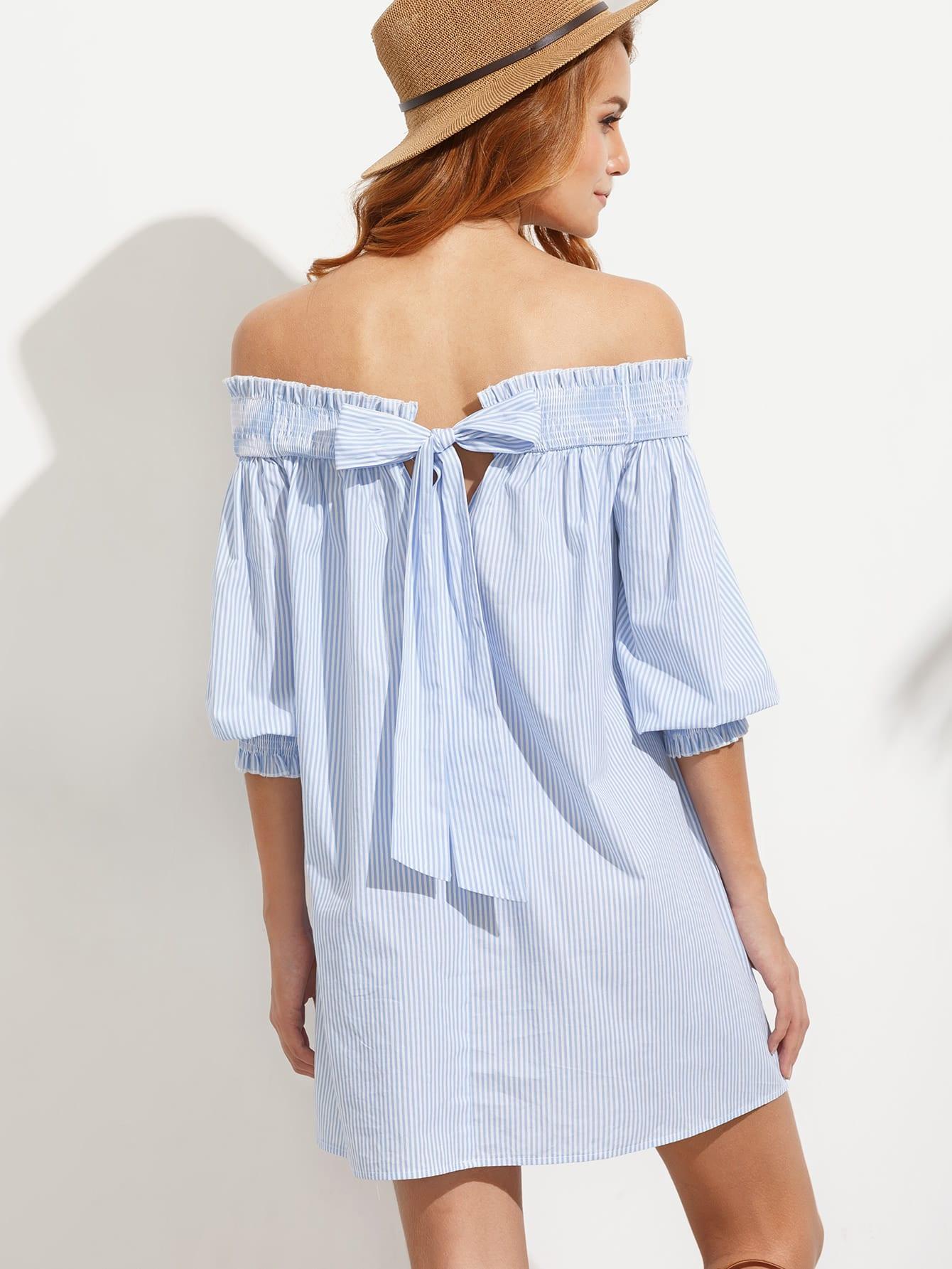Bardot Bishop Sleeves Cutout Self Tie Back Swimg Dress dress160705711