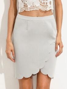 Grey Zipper Back Scallop Trim Skirt