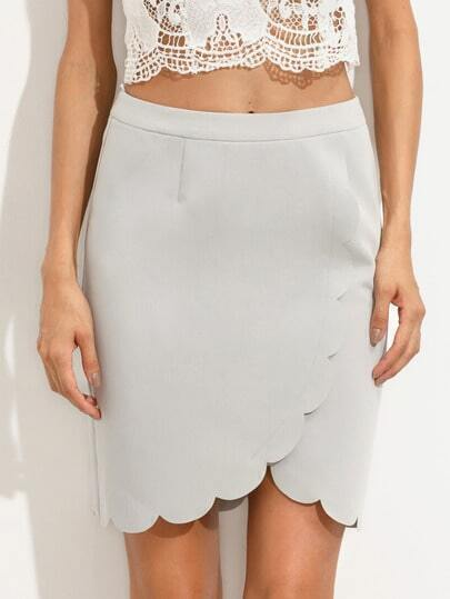 Grey Scallop Trim Zipper Skirt